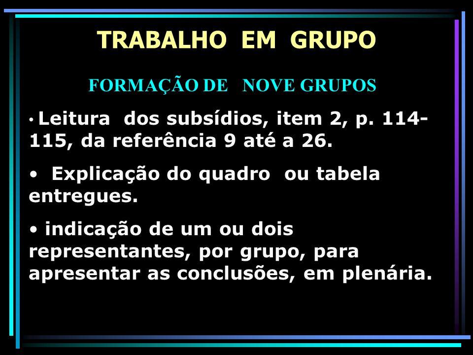 FORMAÇÃO DE NOVE GRUPOS