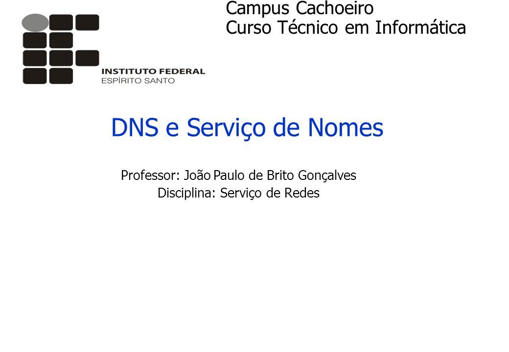 DNS e Serviço de Nomes Campus Cachoeiro Curso Técnico em Informática