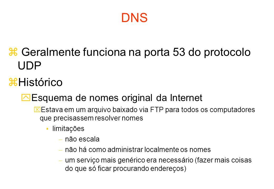 DNS Geralmente funciona na porta 53 do protocolo UDP Histórico