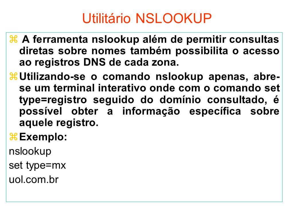 Utilitário NSLOOKUP A ferramenta nslookup além de permitir consultas diretas sobre nomes também possibilita o acesso ao registros DNS de cada zona.