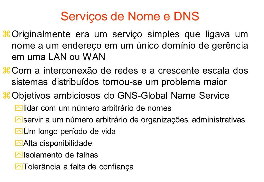 Serviços de Nome e DNS Originalmente era um serviço simples que ligava um nome a um endereço em um único domínio de gerência em uma LAN ou WAN.