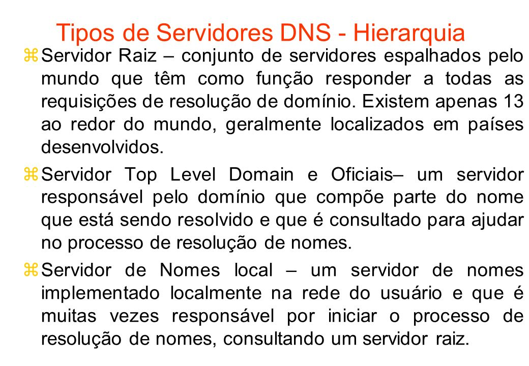 Tipos de Servidores DNS - Hierarquia