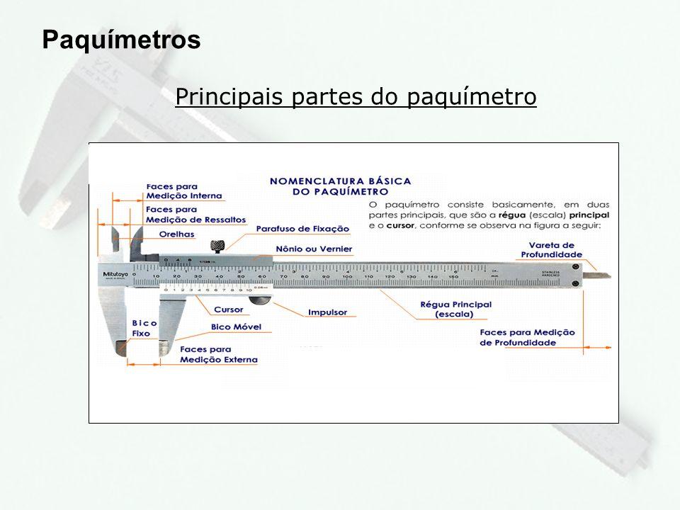 Principais partes do paquímetro