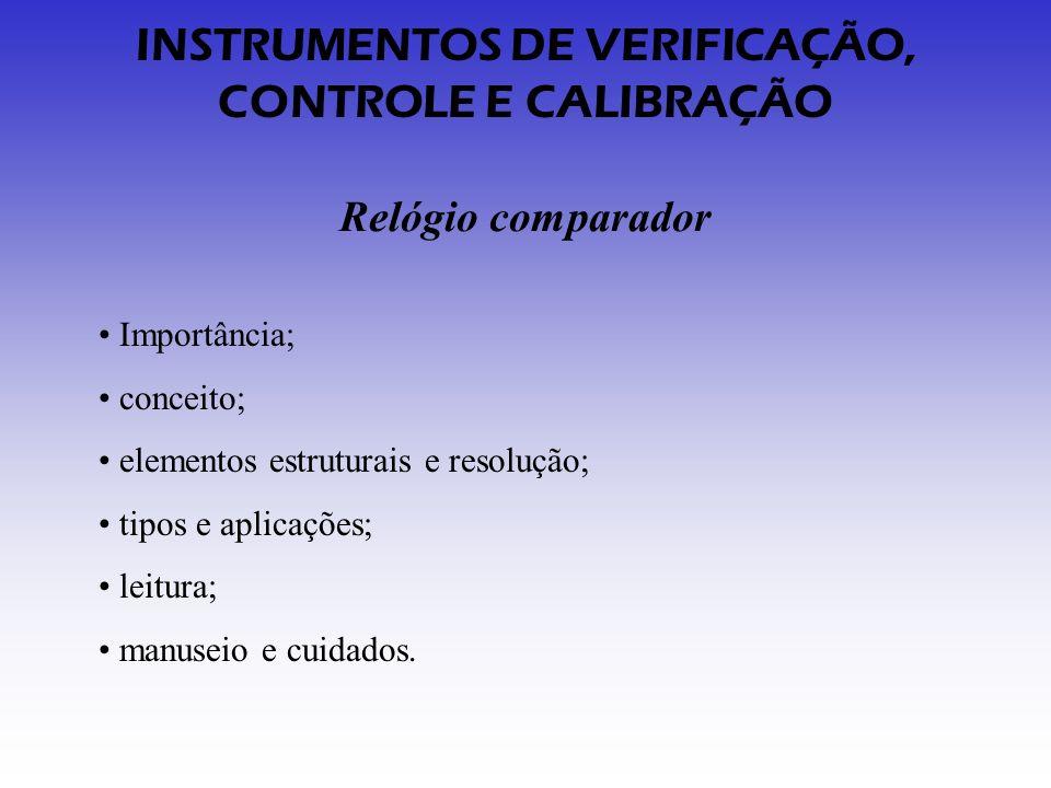 INSTRUMENTOS DE VERIFICAÇÃO, CONTROLE E CALIBRAÇÃO