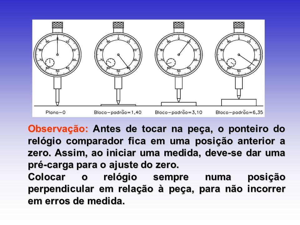 Observação: Antes de tocar na peça, o ponteiro do relógio comparador fica em uma posição anterior a zero. Assim, ao iniciar uma medida, deve-se dar uma pré-carga para o ajuste do zero.