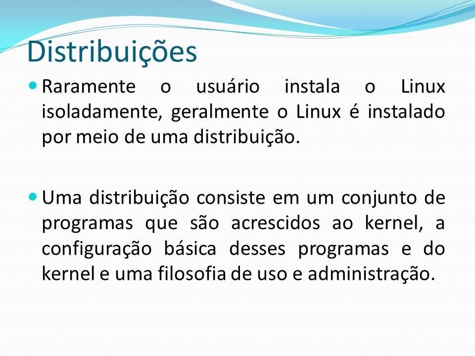 Distribuições Raramente o usuário instala o Linux isoladamente, geralmente o Linux é instalado por meio de uma distribuição.