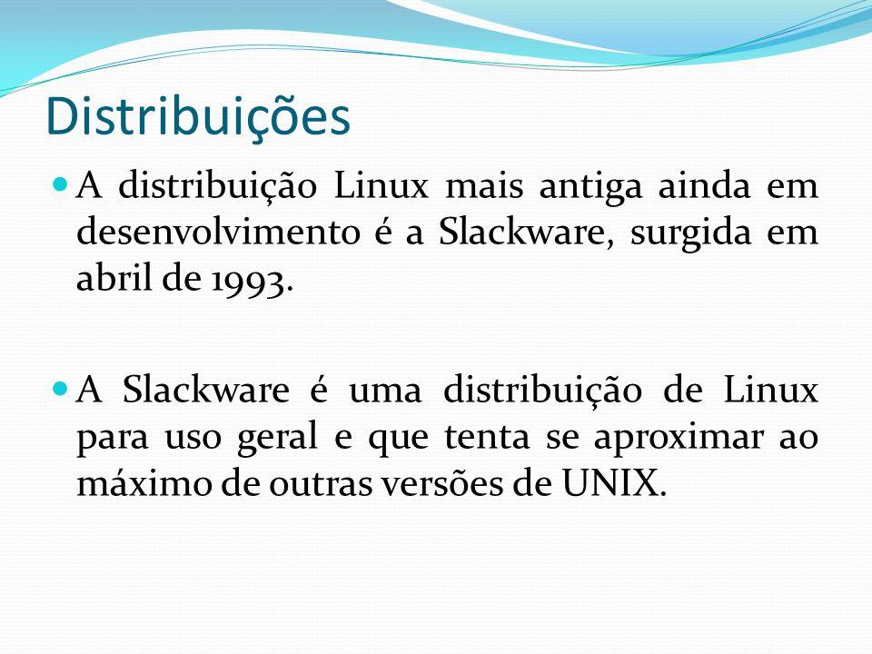 Distribuições A distribuição Linux mais antiga ainda em desenvolvimento é a Slackware, surgida em abril de 1993.