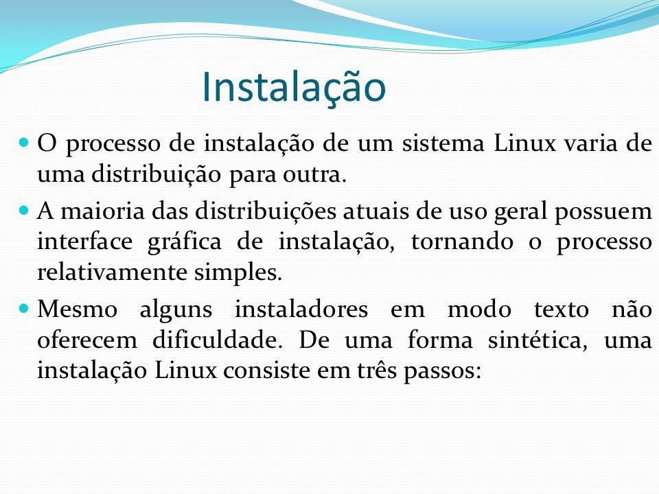 InstalaçãoO processo de instalação de um sistema Linux varia de uma distribuição para outra.