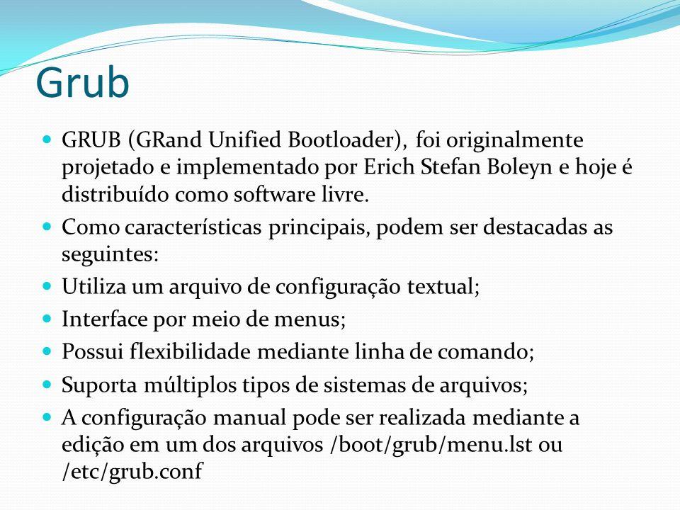 Grub GRUB (GRand Unified Bootloader), foi originalmente projetado e implementado por Erich Stefan Boleyn e hoje é distribuído como software livre.