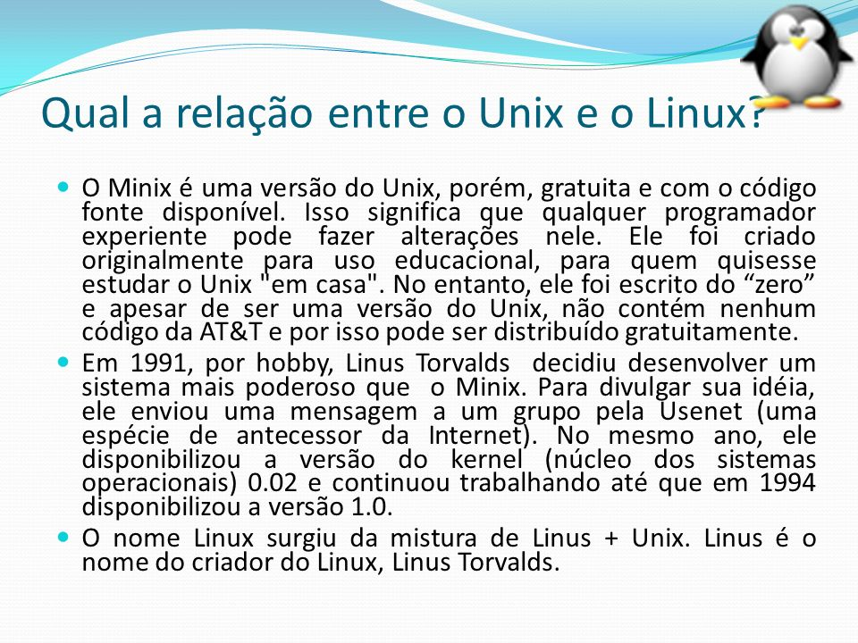 Qual a relação entre o Unix e o Linux