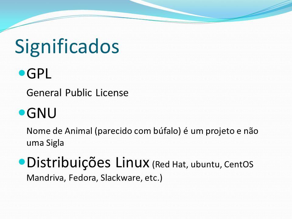 Significados GPL. General Public License. GNU. Nome de Animal (parecido com búfalo) é um projeto e não uma Sigla.