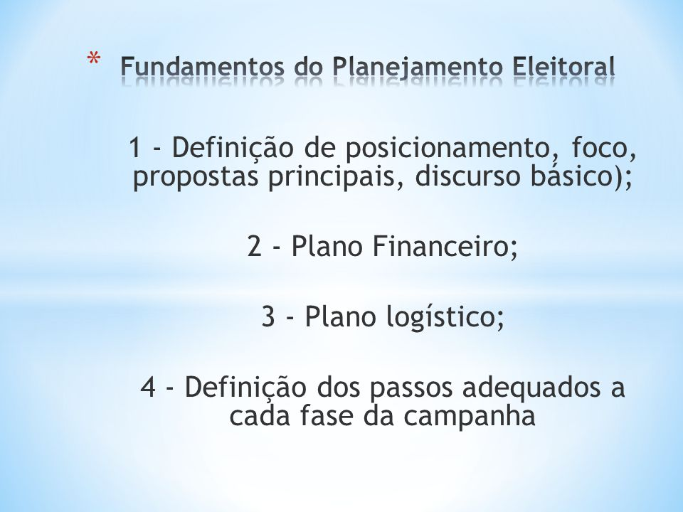 Fundamentos do Planejamento Eleitoral
