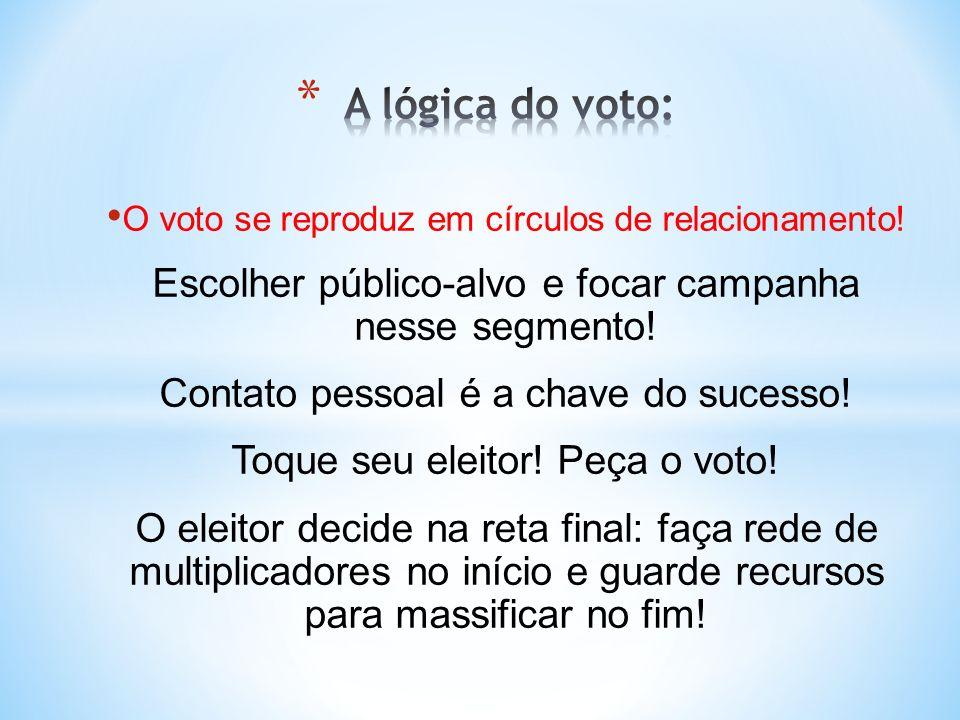 A lógica do voto: O voto se reproduz em círculos de relacionamento! Escolher público-alvo e focar campanha nesse segmento!