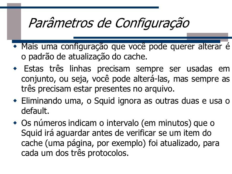 Parâmetros de Configuração