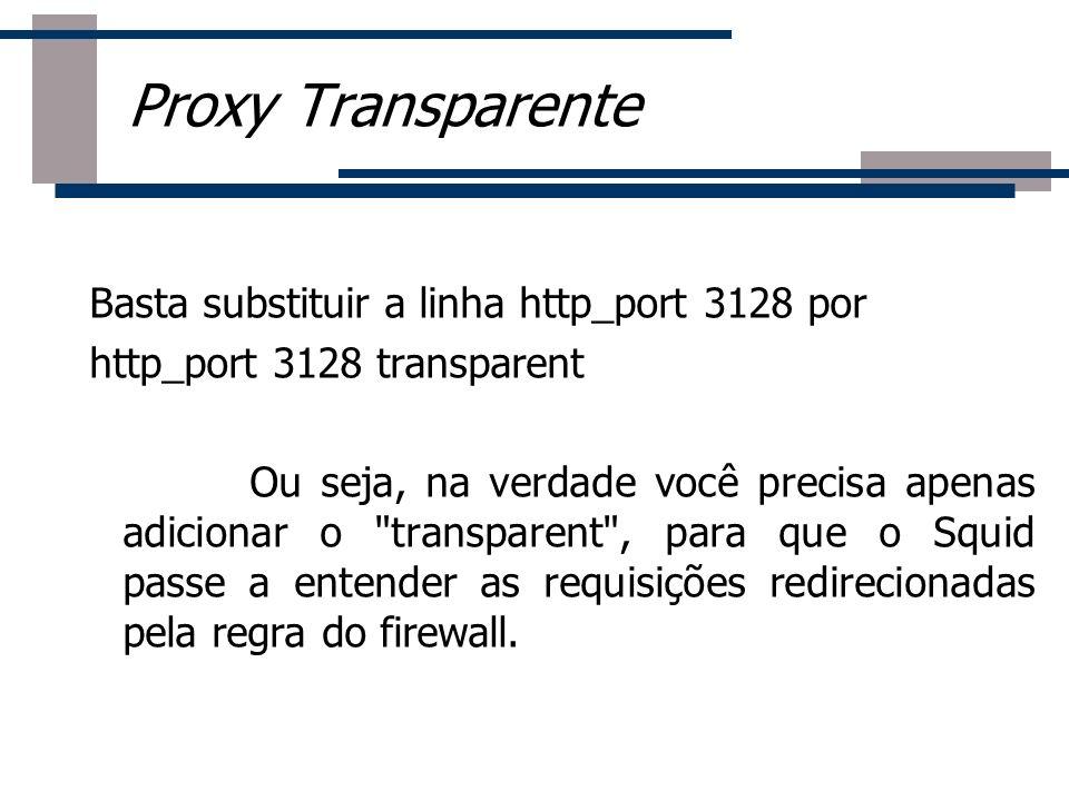 Proxy Transparente Basta substituir a linha http_port 3128 por