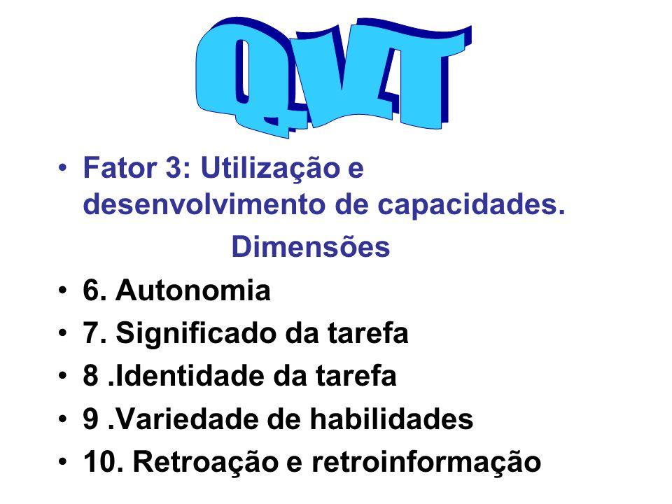 Q.V.T Fator 3: Utilização e desenvolvimento de capacidades. Dimensões