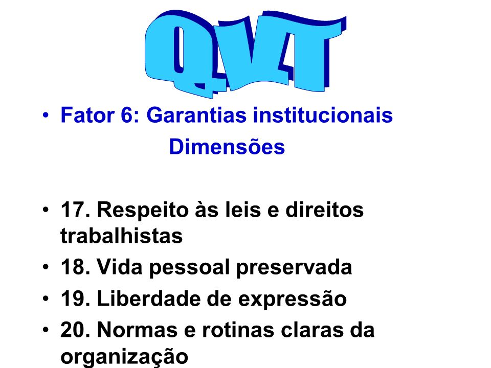 Q.V.T Fator 6: Garantias institucionais Dimensões