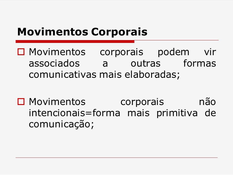 Movimentos Corporais Movimentos corporais podem vir associados a outras formas comunicativas mais elaboradas;