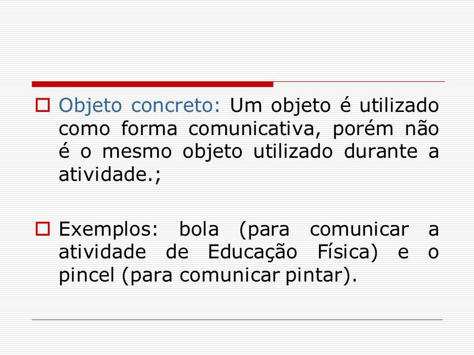 Objeto concreto: Um objeto é utilizado como forma comunicativa, porém não é o mesmo objeto utilizado durante a atividade.;