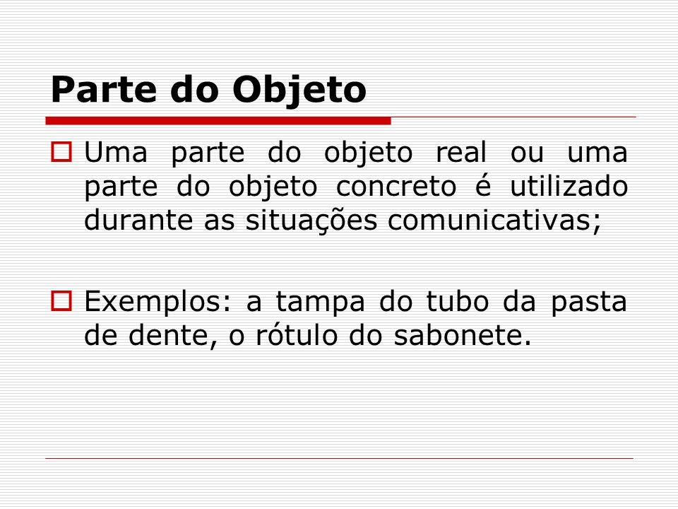 Parte do ObjetoUma parte do objeto real ou uma parte do objeto concreto é utilizado durante as situações comunicativas;