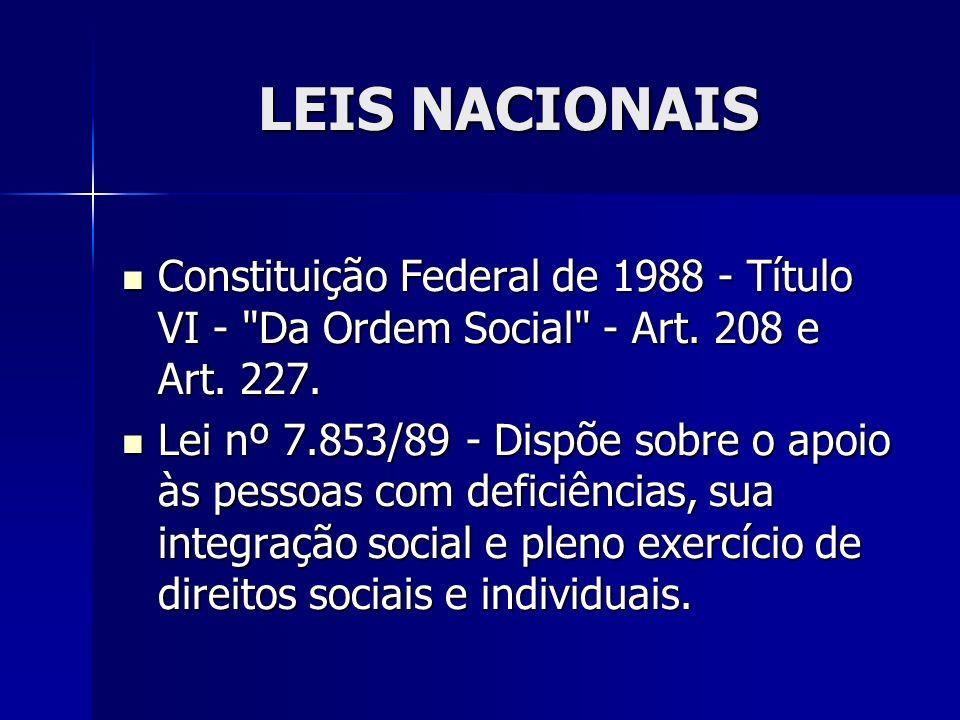 LEIS NACIONAIS Constituição Federal de 1988 - Título VI - Da Ordem Social - Art. 208 e Art. 227.