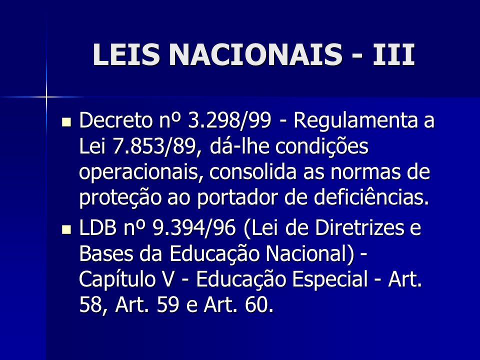 LEIS NACIONAIS - III