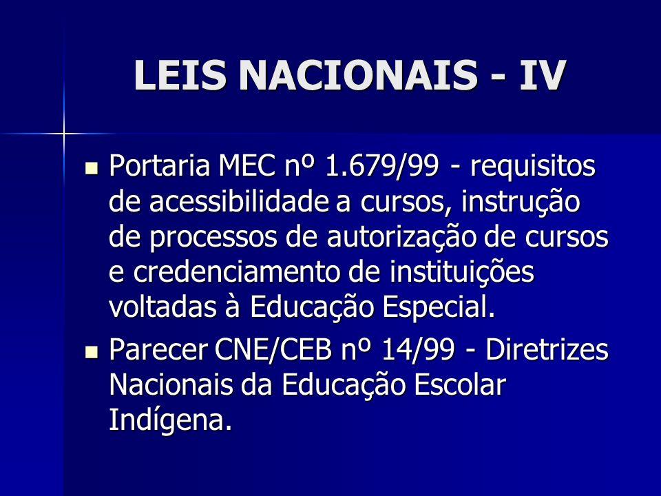 LEIS NACIONAIS - IV