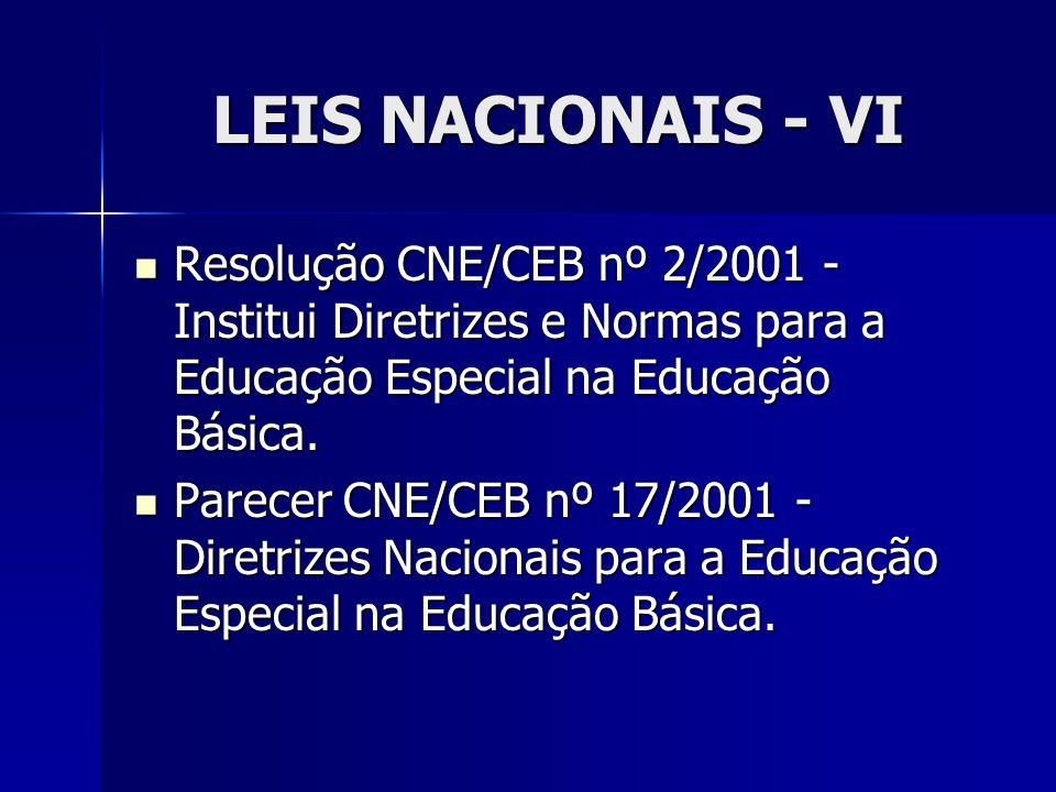 LEIS NACIONAIS - VI Resolução CNE/CEB nº 2/2001 - Institui Diretrizes e Normas para a Educação Especial na Educação Básica.