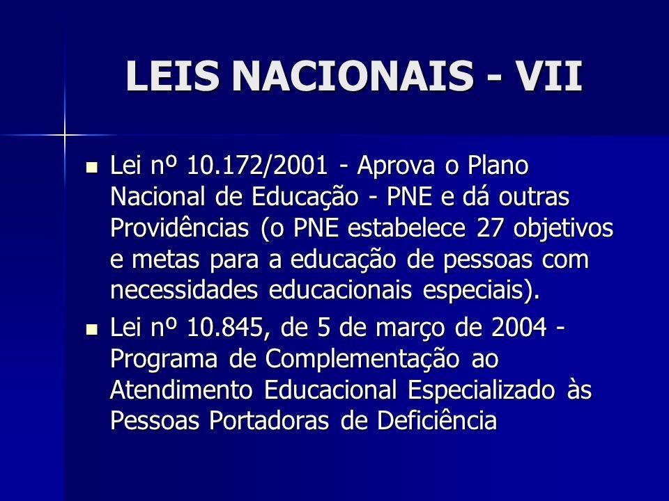 LEIS NACIONAIS - VII