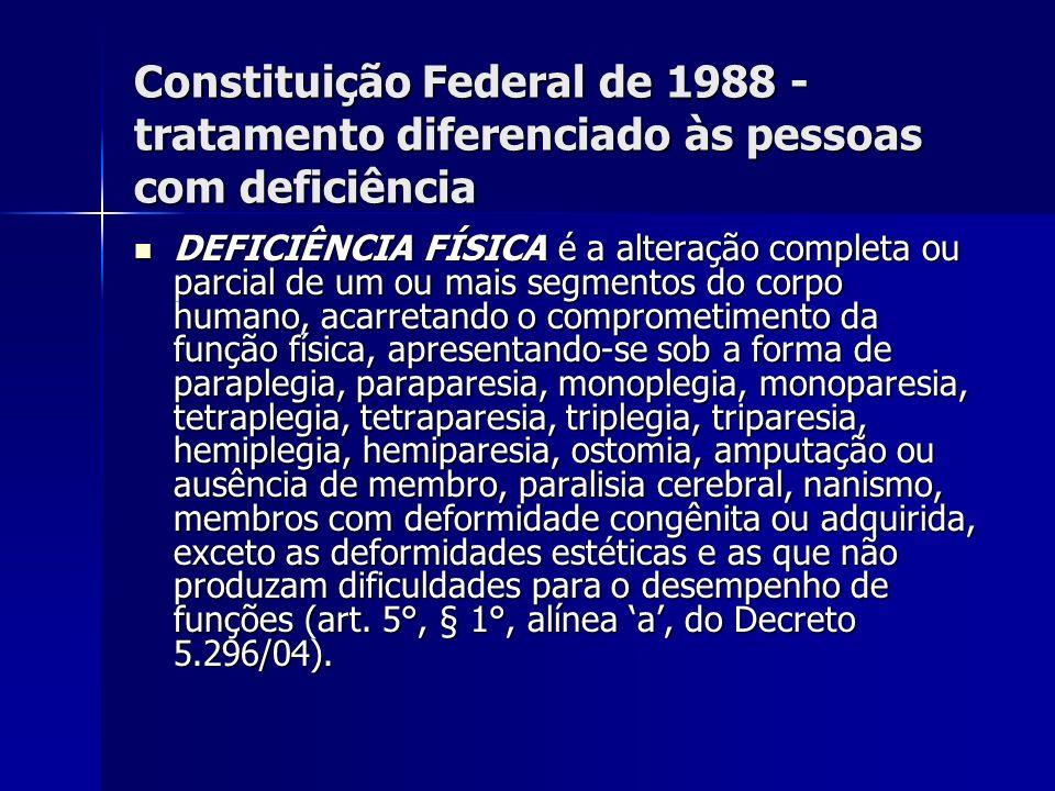 Constituição Federal de 1988 - tratamento diferenciado às pessoas com deficiência