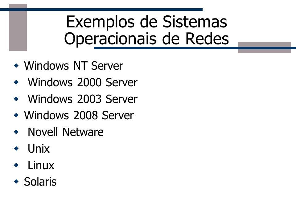 Exemplos de Sistemas Operacionais de Redes