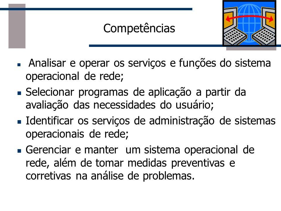 Competências Analisar e operar os serviços e funções do sistema operacional de rede;