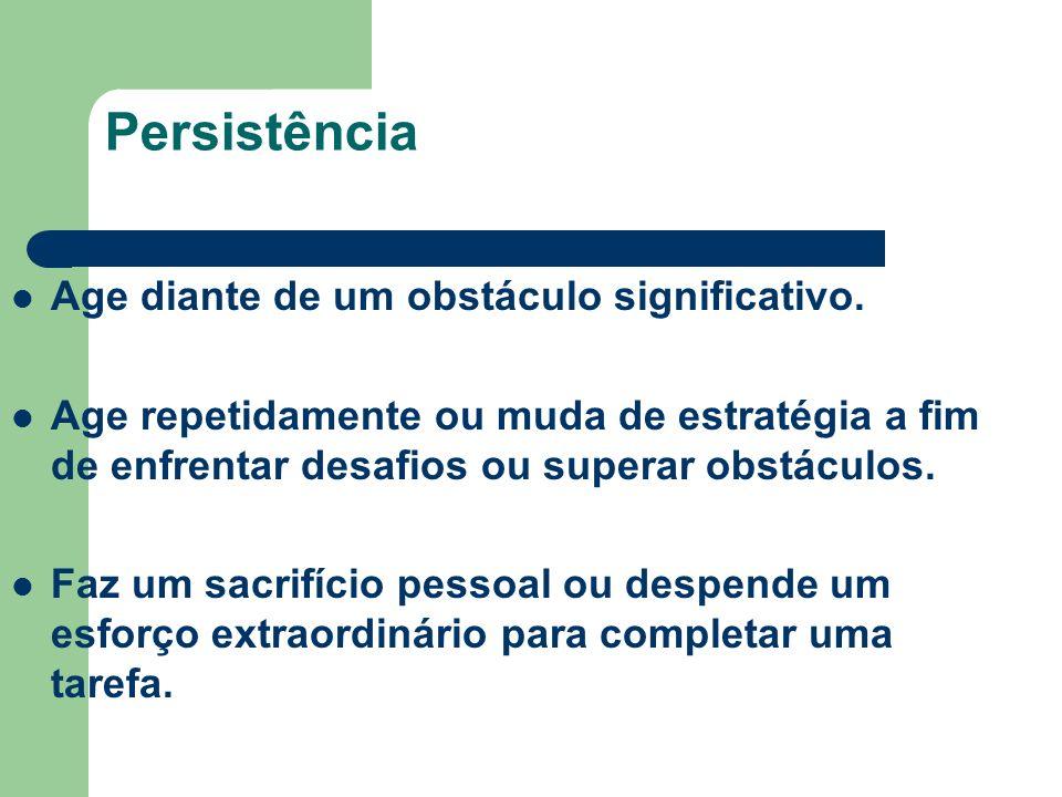 Persistência Age diante de um obstáculo significativo.