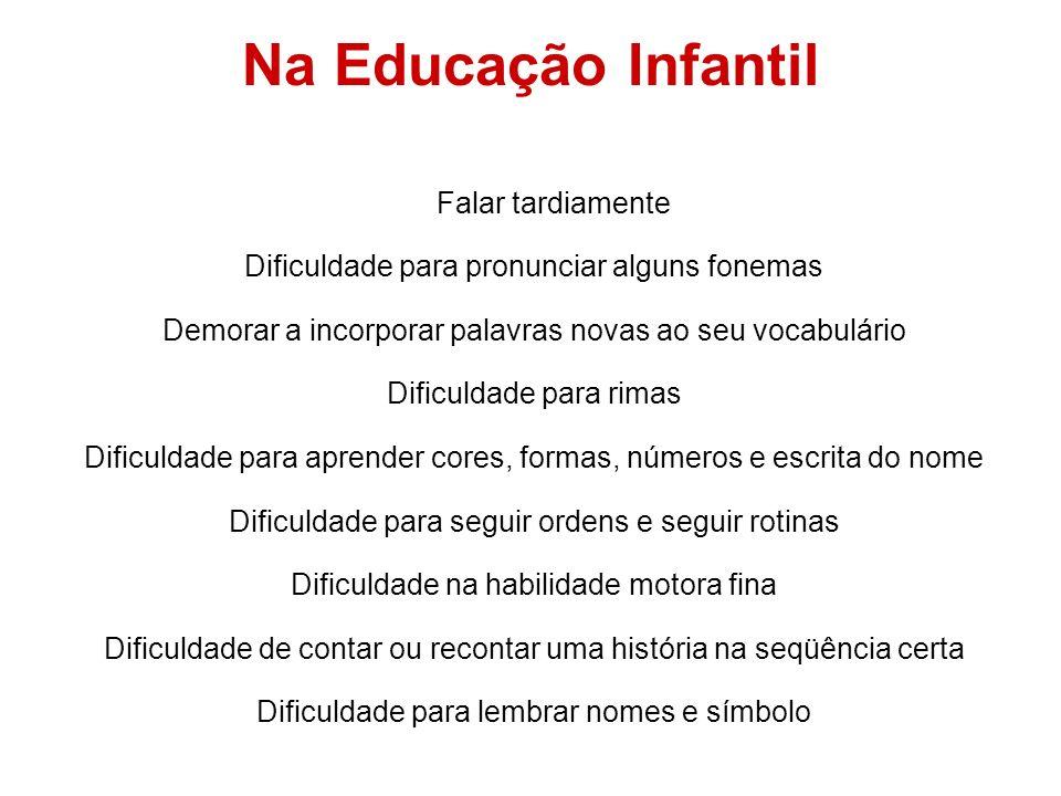 Na Educação Infantil Falar tardiamente