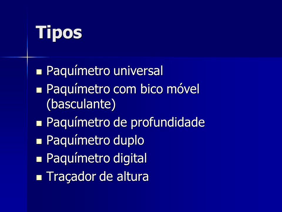 Tipos Paquímetro universal Paquímetro com bico móvel (basculante)