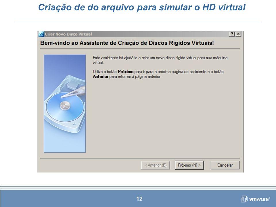Criação de do arquivo para simular o HD virtual