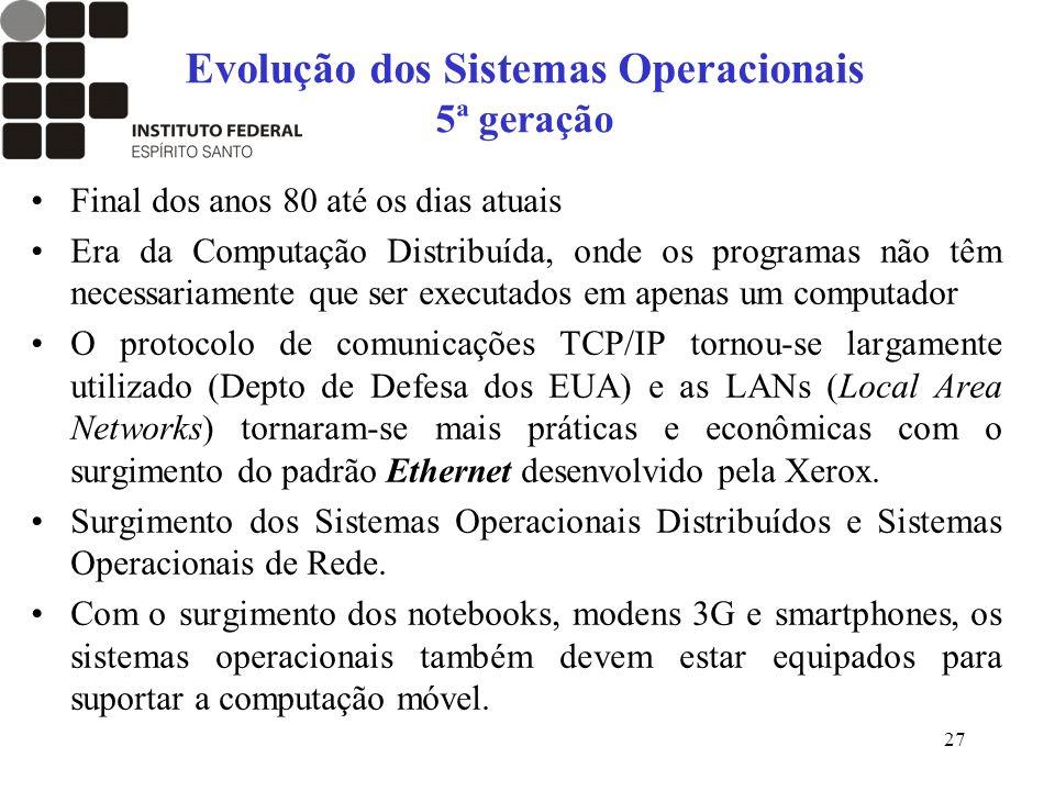 Evolução dos Sistemas Operacionais 5ª geração