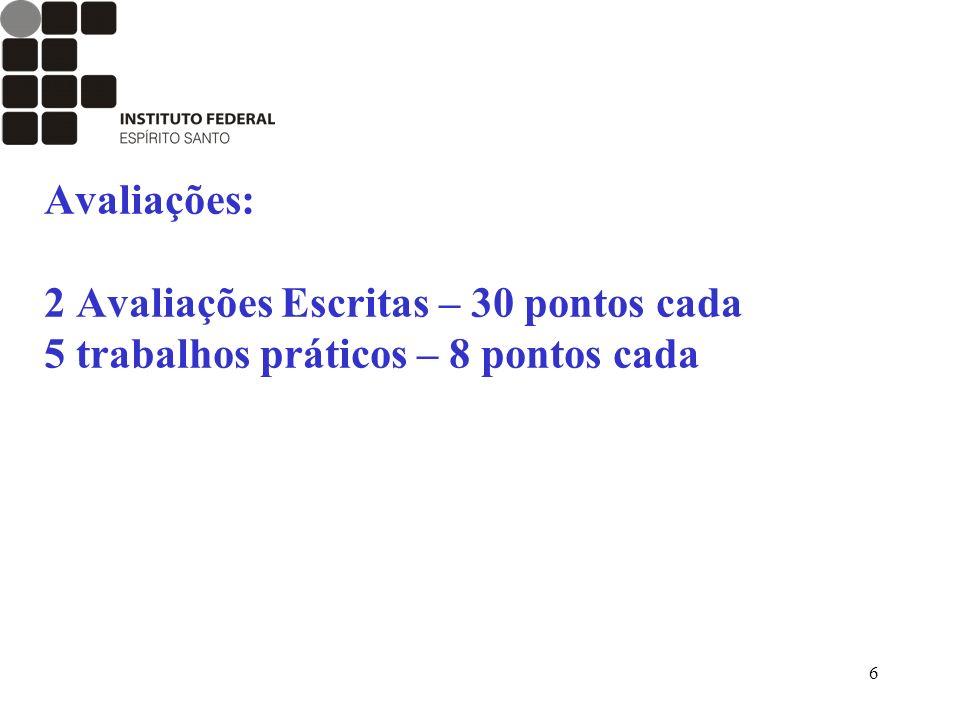 Avaliações: 2 Avaliações Escritas – 30 pontos cada 5 trabalhos práticos – 8 pontos cada