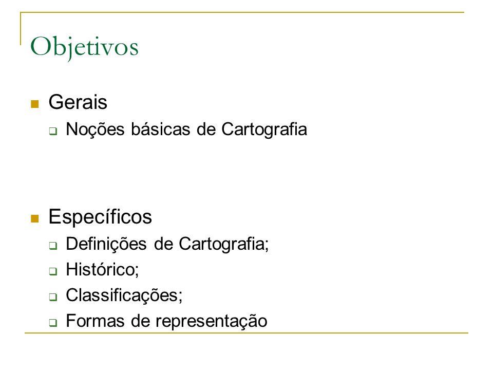 Objetivos Gerais Específicos Noções básicas de Cartografia