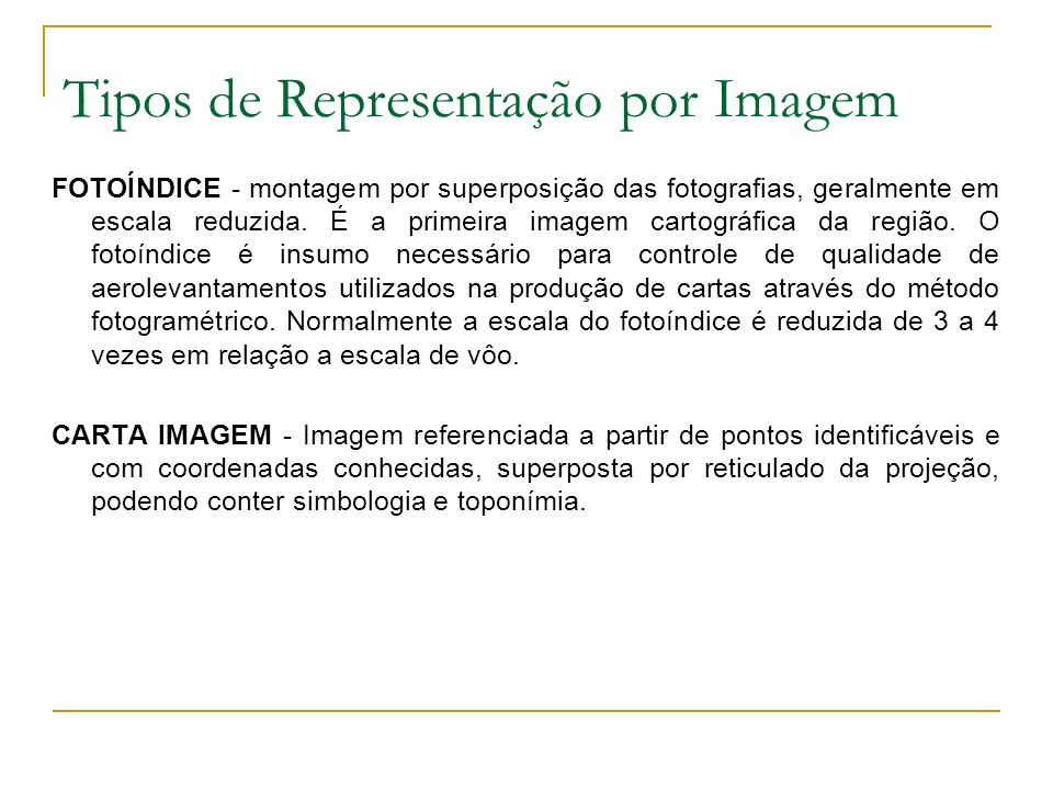 Tipos de Representação por Imagem