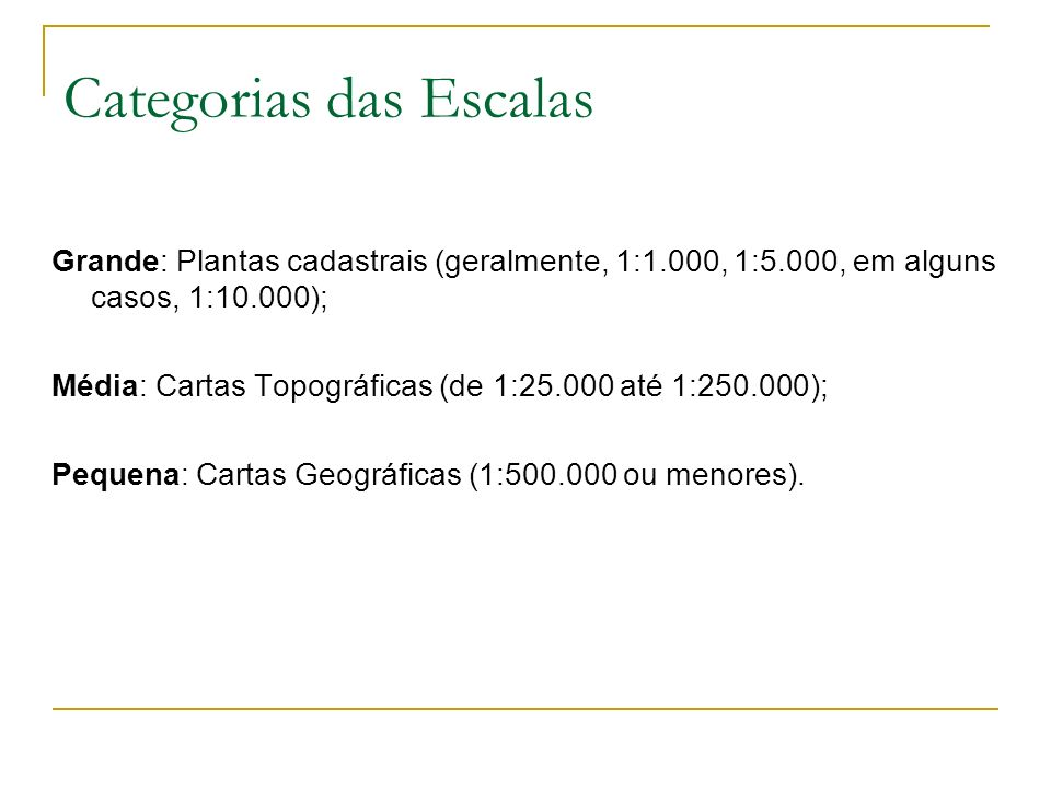 Categorias das Escalas