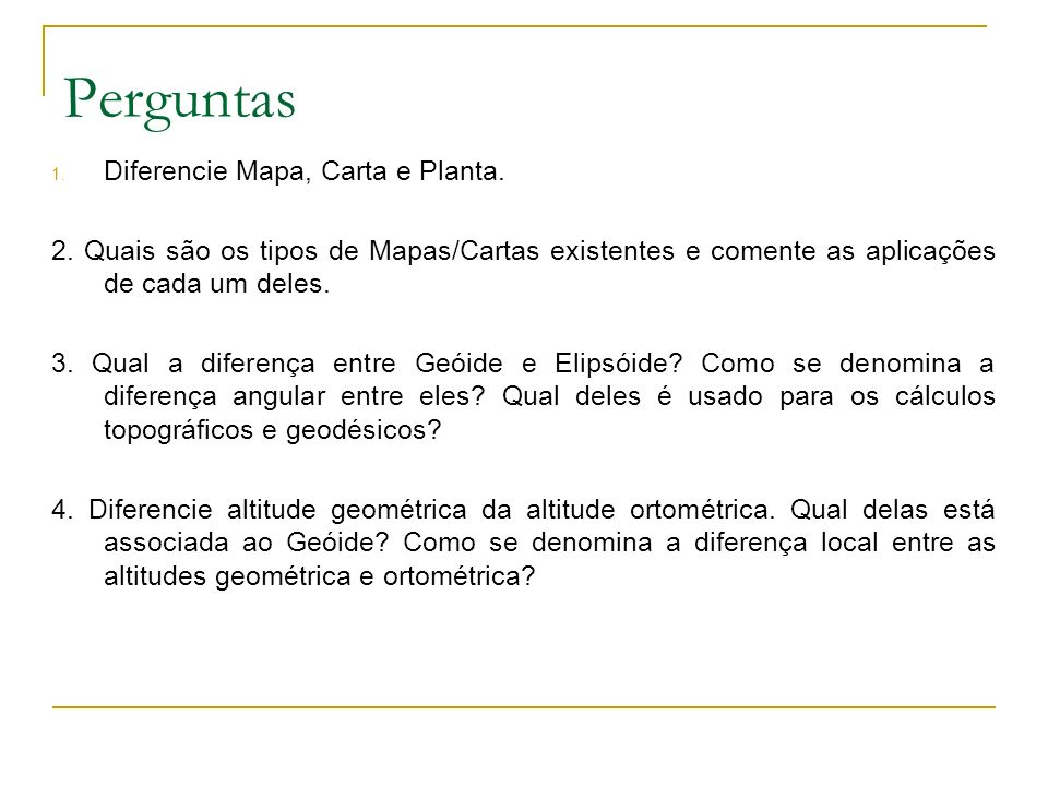 Perguntas Diferencie Mapa, Carta e Planta.