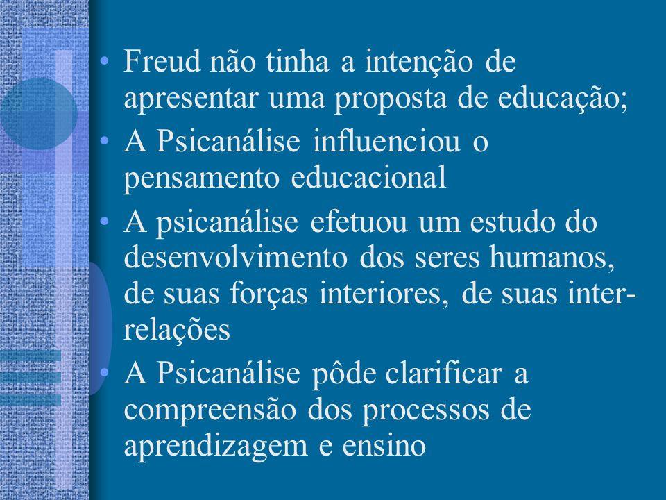 Freud não tinha a intenção de apresentar uma proposta de educação;
