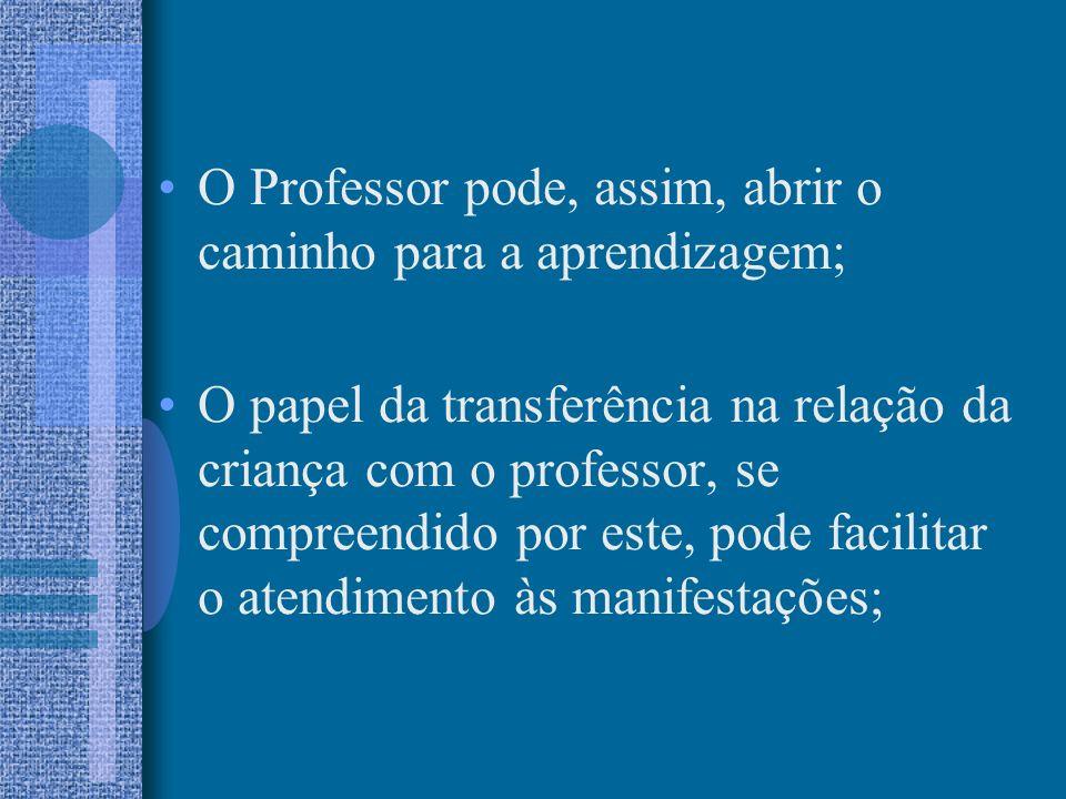 O Professor pode, assim, abrir o caminho para a aprendizagem;