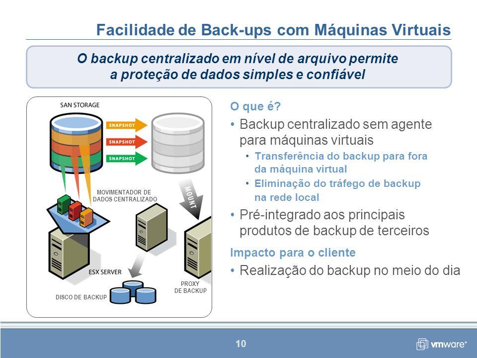Facilidade de Back-ups com Máquinas Virtuais