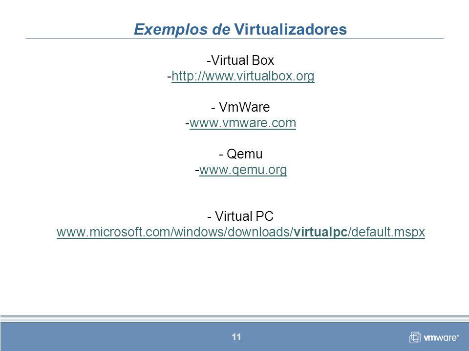 Exemplos de Virtualizadores