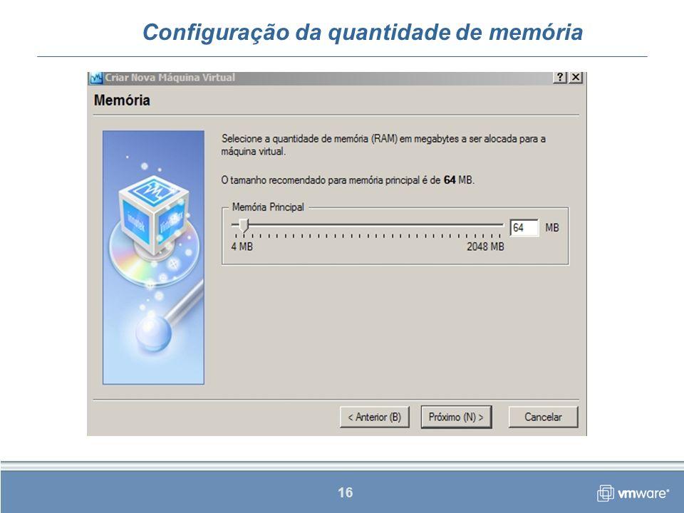 Configuração da quantidade de memória