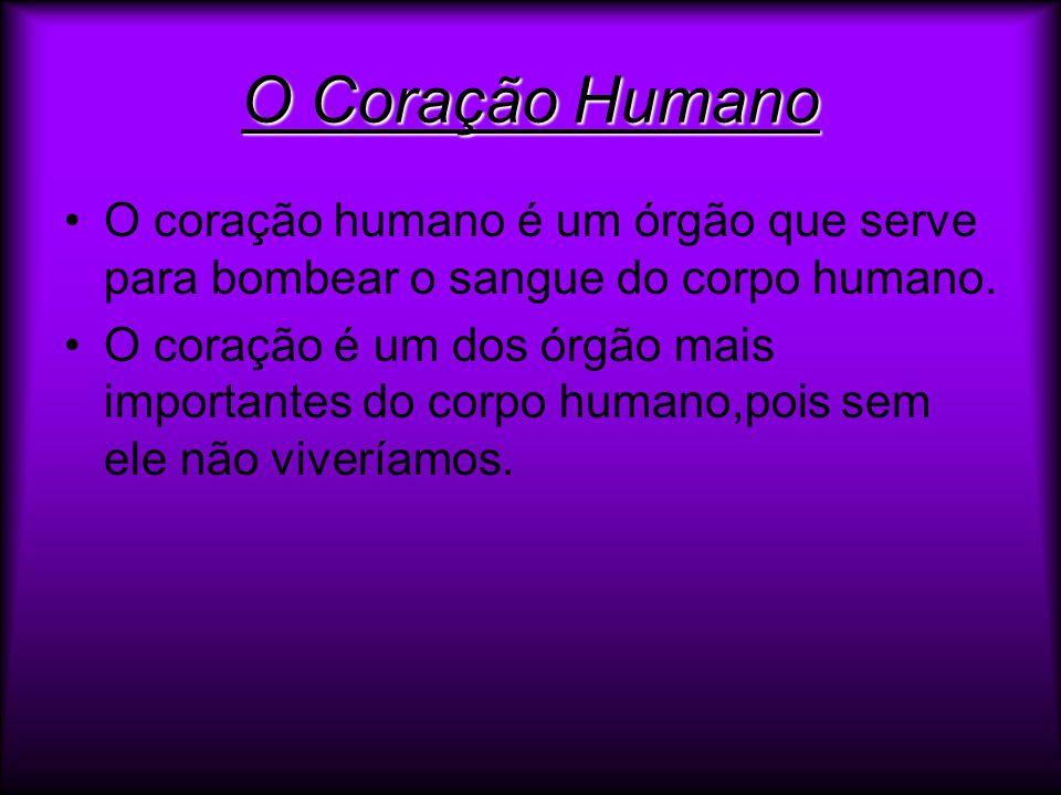 O Coração Humano O coração humano é um órgão que serve para bombear o sangue do corpo humano.