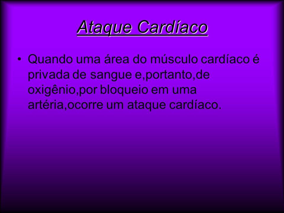 Ataque CardíacoQuando uma área do músculo cardíaco é privada de sangue e,portanto,de oxigênio,por bloqueio em uma artéria,ocorre um ataque cardíaco.