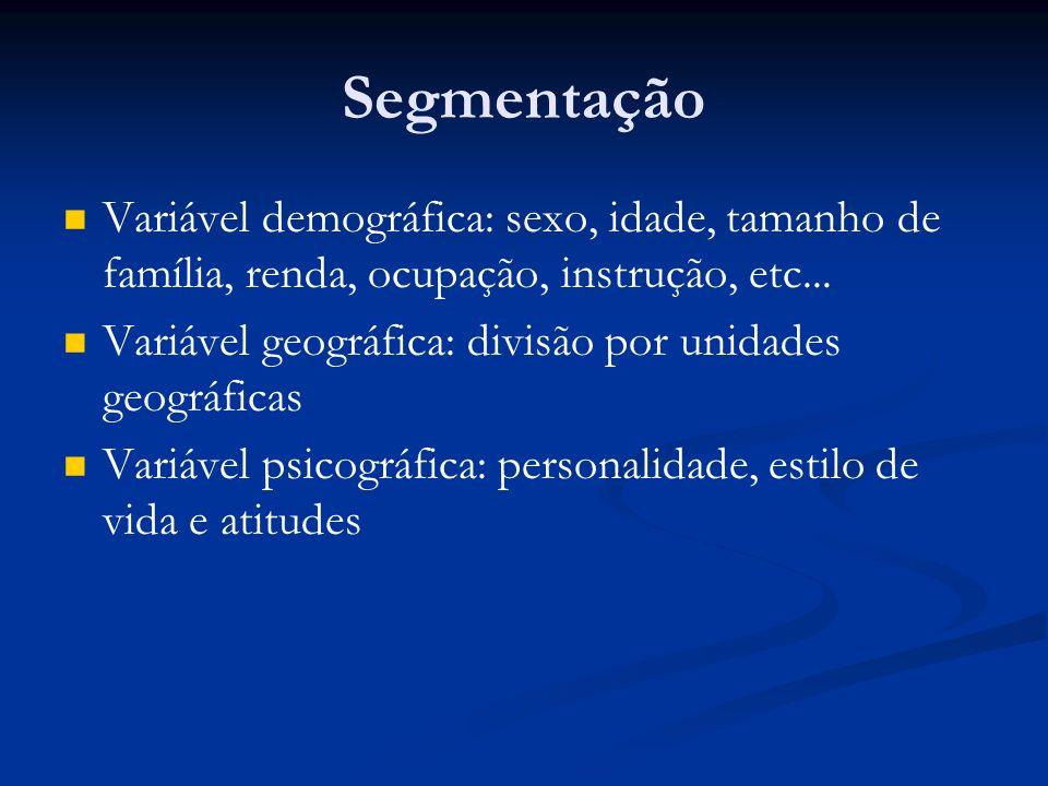 Segmentação Variável demográfica: sexo, idade, tamanho de família, renda, ocupação, instrução, etc...